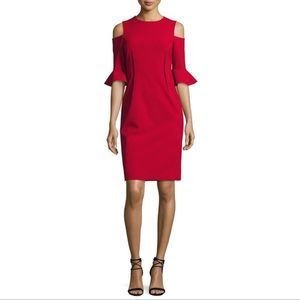 Teri Jon Rickie Freeman Crepe Cold-Shoulder Dress